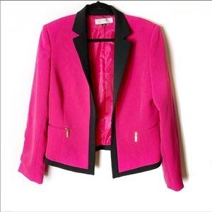 EUC TAHARI Bright Pink and Black Open Front Blazer